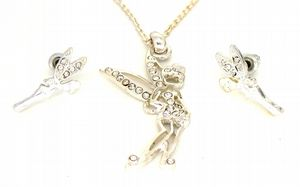 Tinkerbell Fairy Crystal Necklace & Earrings Set CZ Stone